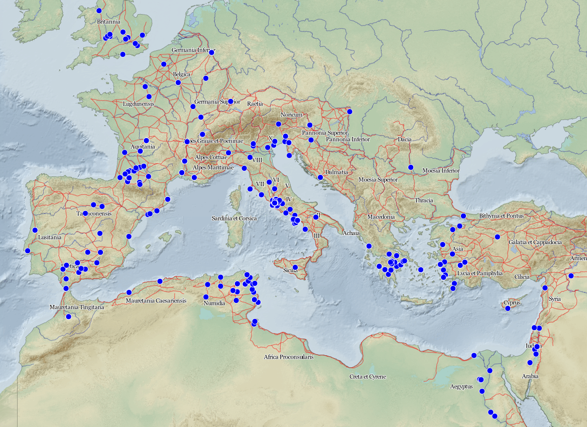 Map of gardens in the Gardens of the Roman Empire Project